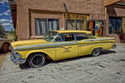 Edsel Ranger Taxi Cab Classic Car Car Yellow Taxi