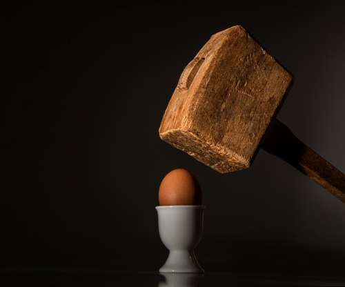 Egg Hammer Threaten Violence Fear Intimidate Hit