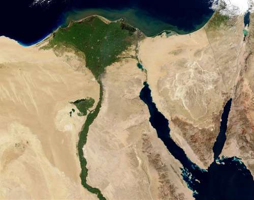 Egypt Nile Aerial View Land Map Atlas