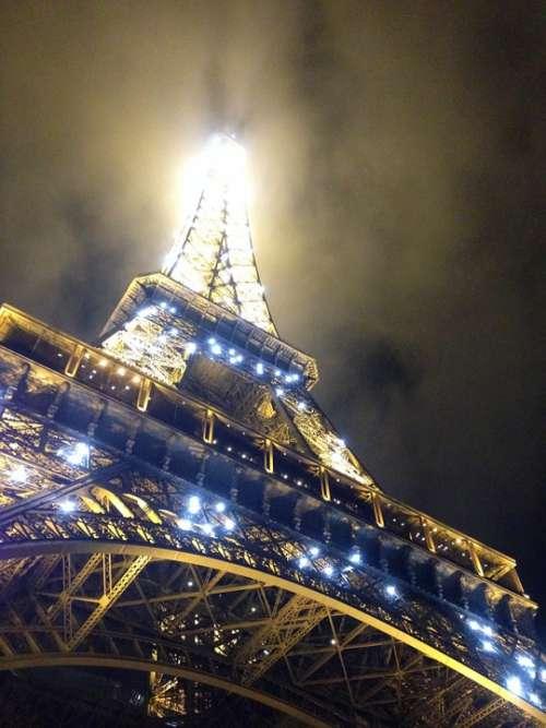 Eiffel Tower Paris Lights France Travel Sky