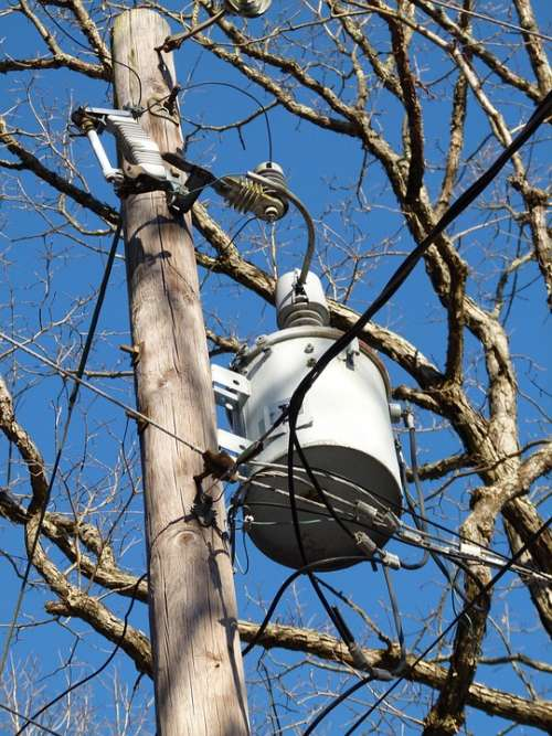 Electricity Telephone Pole Line Sky Voltage Pole