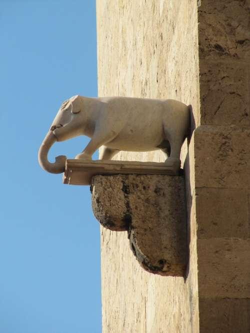 Elephant Tower Cagliari Sardinia Facade Figure