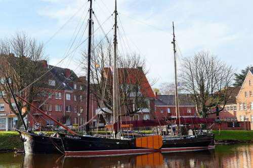 Emden East Frisia Inland Port Sailing Boats Antique