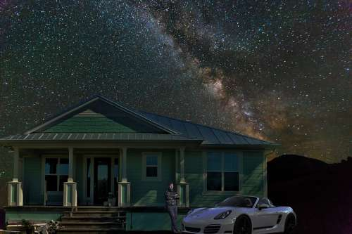 Emotional Night Lonely Porsche House Home Stars