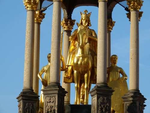 Emperor Statue Gold Magdeburg Saxony-Anhalt