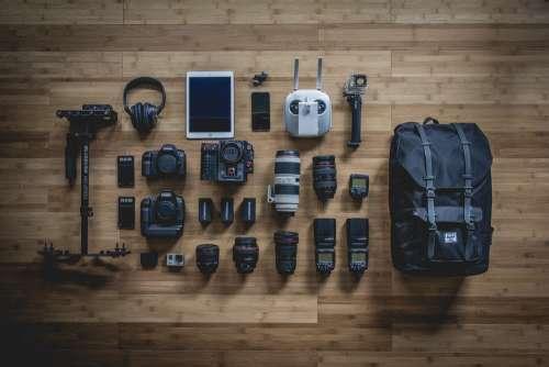 Equipment Assortment Technology Photography Cameras