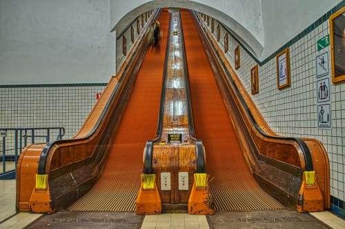 Escalator Underground Urban Architecture City