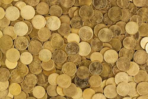 Euro Coins Currency Money Yellow Europe Growth