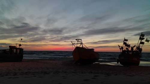 Evening Sea Beach Ocean Sky Sunset Mood Twilight