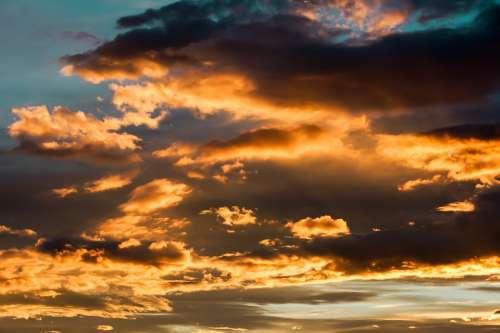 Evening Sky Sky Clouds Shining Sunset