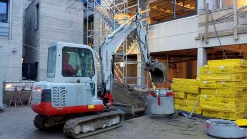Excavators Site Construction Work Work