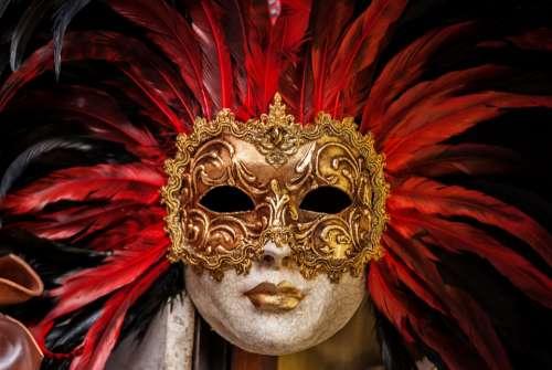 Eyes Golden Mask Cracks Feathers Carnival