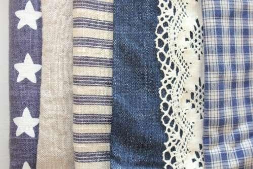 Fabric Sew Blue Denim Stars Stripes Routes