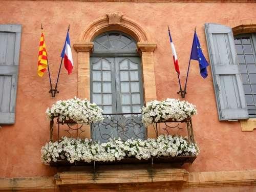 Facade Provence Fleuri Spring Roussillon Town Hall