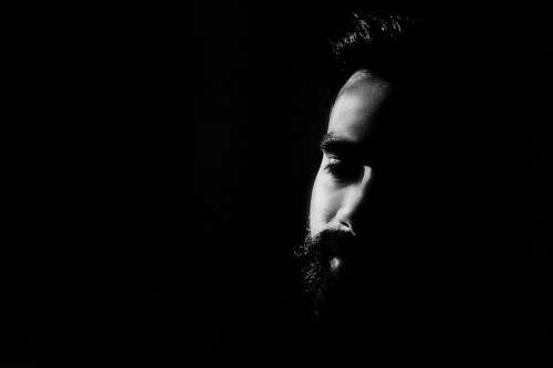 Face High Contrast Black And White Bearded Man Male