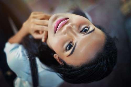 Face Girl Close-Up Eyes Lips Smile Hair Pose