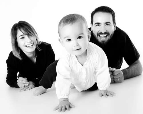 Family Baby Crawling Mother Smiling Happy