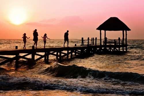 Family Children Woman Man Happy Ocean Holiday