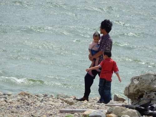 Family Nature Lake River Kids