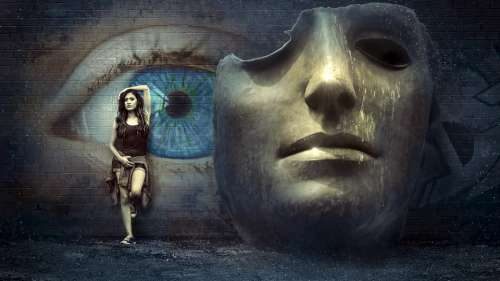Fantasy Surreal Mask Wall Eye Mysticism Girl