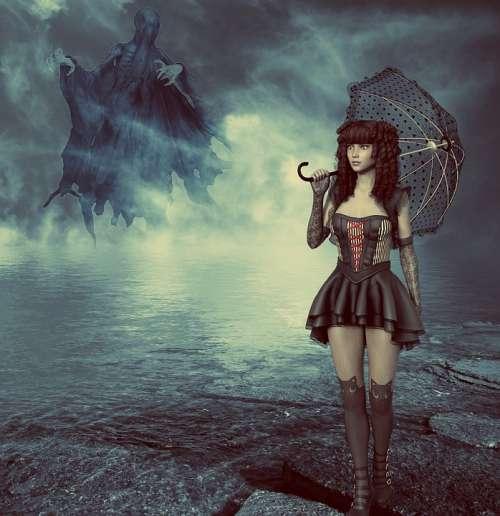 Fantasy Girl Umbrella Water Fog Dark Ghost