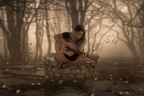 Fantasy Music Guitar Well Woman Forest Fog Birds