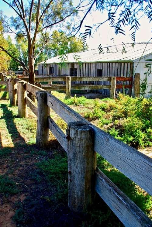 Farm Fence Building Wooden Rustic Barn