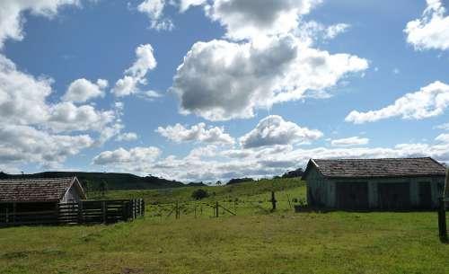 Farm Sky Clouds Home Landscape