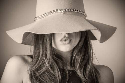 Fashion Beautiful Woman Woman Hat Covering