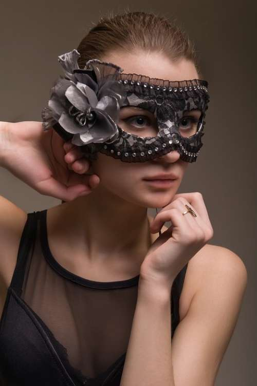 Fashion Person Woman Young Mask Lovely Portrait