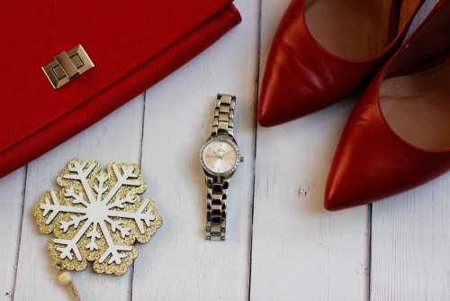 Fashion Clothes Watch Pins Red Ladies Watch