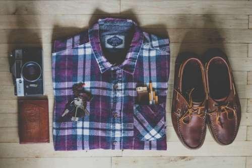 Fashion Shirt Shoes Clothes Assortment Camera
