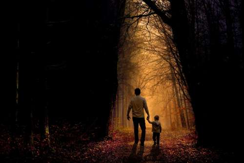 Father Son Walk Child Boy Family Parent People