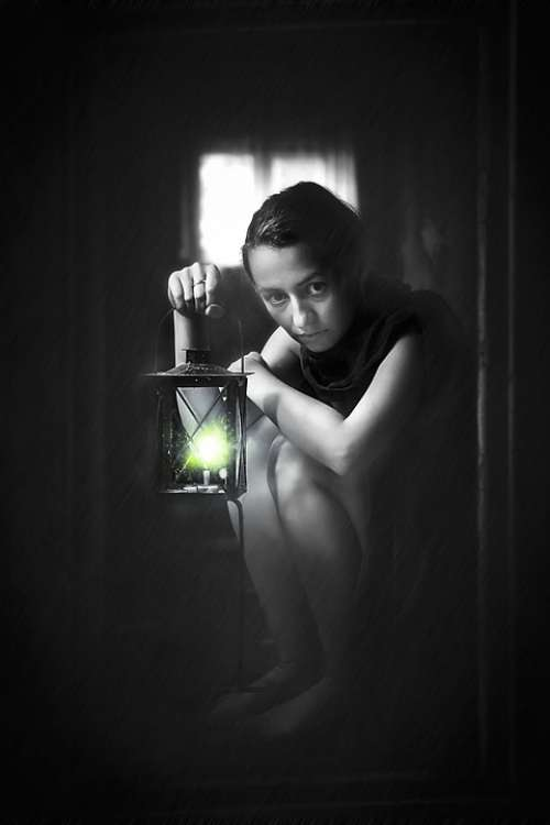 Fear Girl Woman Black And White Bw Lantern