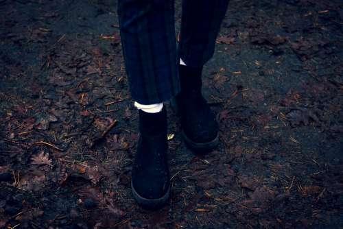 Feet Legs Shoes Footwear Winter Shoes Forest Wet