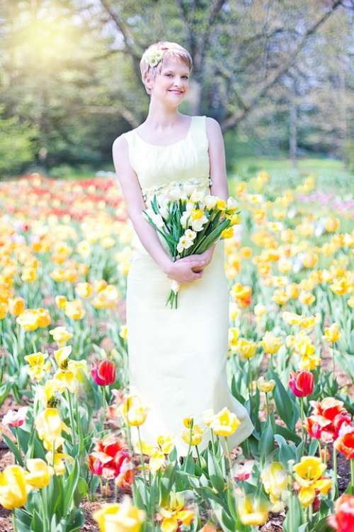 Field Of Tulips Young Woman Pretty Spring Joy