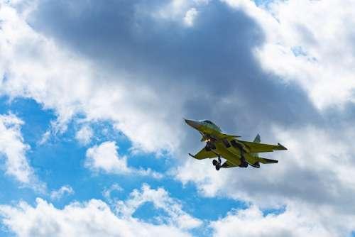 Fighter Sky Clouds Plane Aviation Flight
