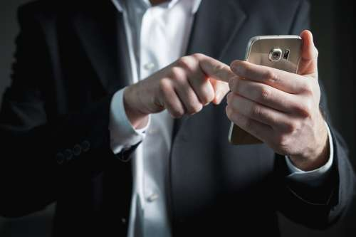 Finger Smartphone Screen Pressing Businessman