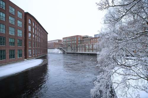 Finnish Tampere Industry Winter Frost Snow Water