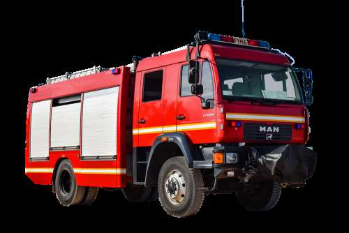 Fire Vehicle One Isolated Blue Light Fire Fighting