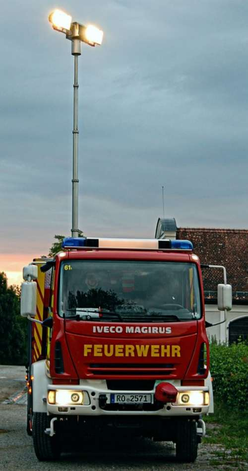 Fire Rüstwagen Blue Light Exercise