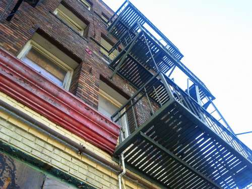 Fire Escape Old Building Downtown Aging Urban City