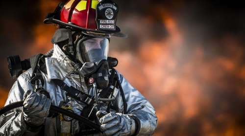 Firefighter Fire Portrait Training Monitor Hot