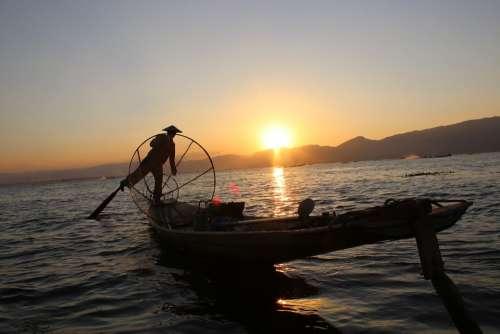 Fisherman Man Boat Myanmar People Outdoor Lake