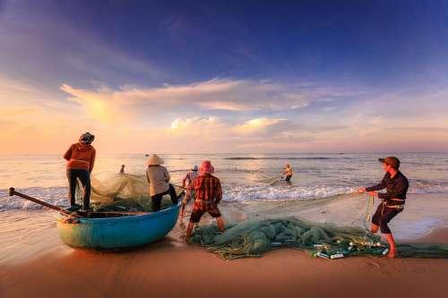 Fishermen Fishing Sea Asia Vietnam Fishing Net
