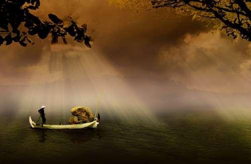 Fishermen Boat Asia Indonesian Traditional River