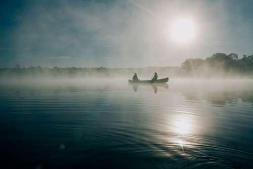 Fishing Boat People Fog Foggy Canoe Sunrise