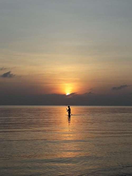 Fishing Sunset Sea Nature Ocean Beach Sky