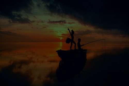 Fishing Kids Sea Sunset Sunrise Dusk Happy Water