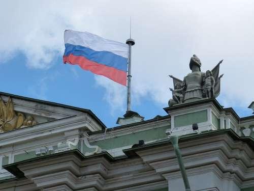 Flag Russia St Petersburg Building Erimitage